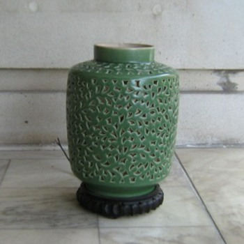 Pierced pottery Oriental lamp. - Asian