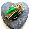 Antique 14k enamel beetle watch pin.