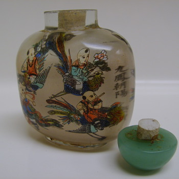 ANTIQUE JAPANESE SNUFF BOTTLE, 9 GUYS FLYING ON ROOSTERS!! signed - Asian