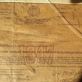 1947 Jack Daniels Dist Liqour License  - Paper