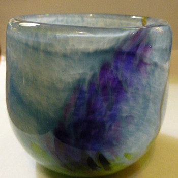 Prairie Fire Glass Studio (Water Lilies series) sugar and creamer - Art Glass