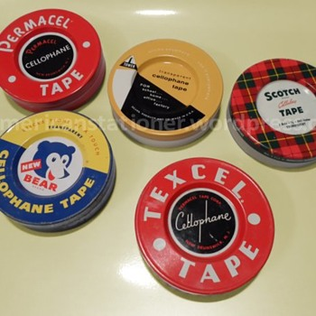 Vintage Cellophane Tape Tins - Office