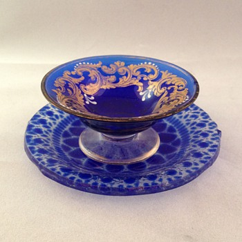 Cobalt Bowl and plate with gold trim - Glassware