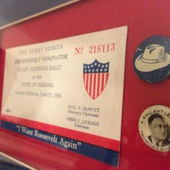1936 Democratic National Rally Ticket - Franklin D. Roosevelt