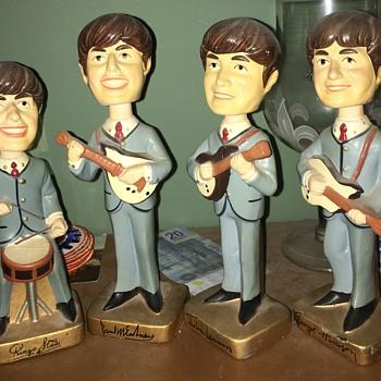 Original Car Mascot Beatles Bobblehead Dolls from 1964 + Dr Pepper clock - Music Memorabilia