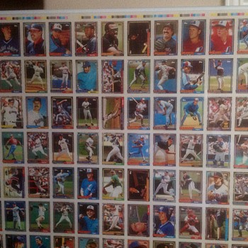 1992 Topps Baseball uncut Proof sheet