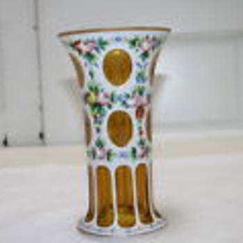Czech art glass enameled white cut to amber vase - Art Glass