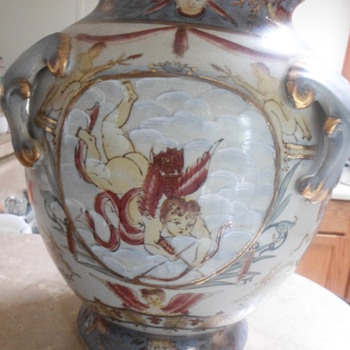 Antique hand-painted cupid vase!!! - Pottery