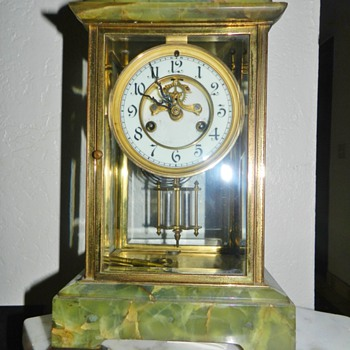 Old Waterbury Calcite Housing Mantle Clock