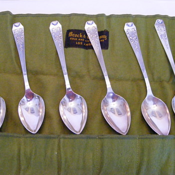 Set of 6 Brock & Co. silver spoons - Silver