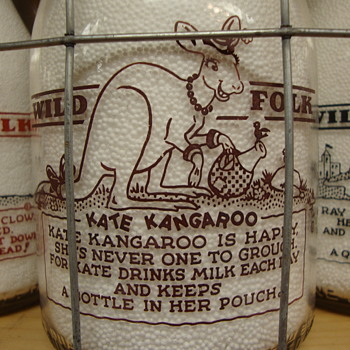 "McVEIGH DAIRY..CHICAGO ILLINOIS..""WILD FOLK SERIES""...KATE KANGAROO - Bottles"