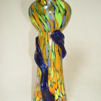 Czech Art Deco Spatter Glass Vase - Art Glass