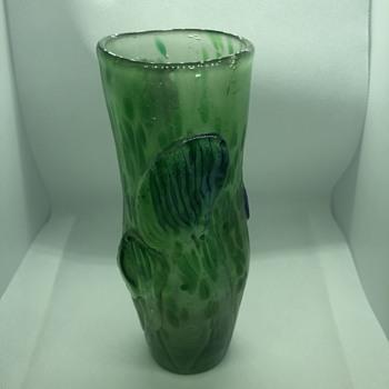 Green Blue Muted Art Glass Vase - Art Glass
