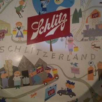 """1957 Schlitz """"Schlitzerland U.S.A."""" Beer Tray. - Breweriana"""