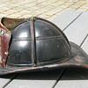 Antique leather firefighting helmet