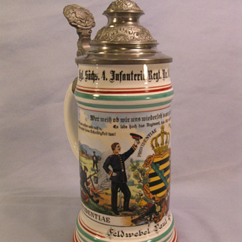 Imperial German Souvenier Stein of Feldwebel Paul Geickler who served in the 103rd (4th Royal Saxon) Infantry Regiment.