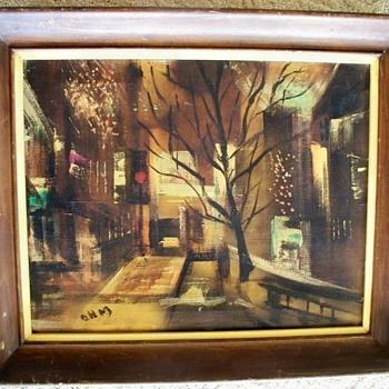 Original Surrealism Painting   w/  Intitials: OHM  or OWM? - Fine Art