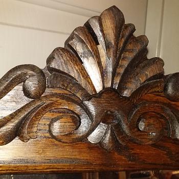RESCUED/RESTORED antique beveled glass mirror in quartersawn oak frame - Furniture