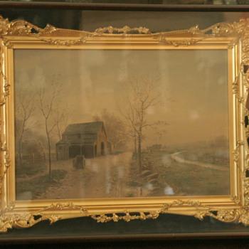 beautiful European watercolor in gilt shadow box frame