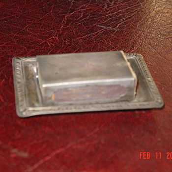 Sterling Match Box Holder With Sterling Tray - Silver