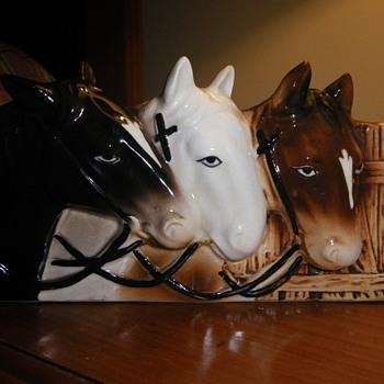 Napco Three Horse Head Planter ??? - Pottery