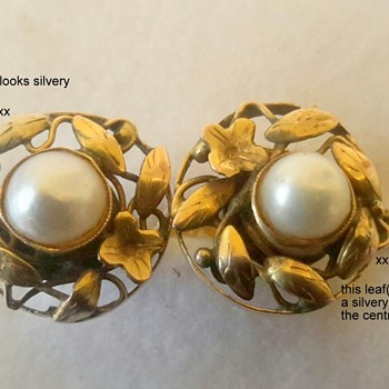 Arts and Crafts 15ct Gold and Pearl Screw On Earrings - Fine Jewelry