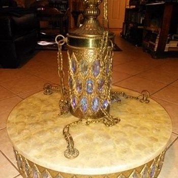 Vintage brass swag lamp with attached Scalloped capiz table - Lamps