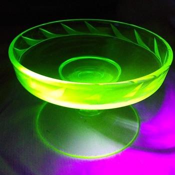 Vintage Depression Uranium Vaseline Glass Pedestal Candy Dish  - Glassware