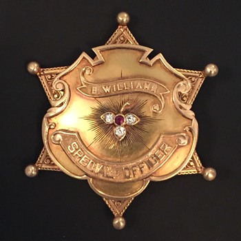 14k gold with diamonds and ruby AT&SF Railway Police badge belonging to famous old west  Lawman Ben Williams.  - Medals Pins and Badges