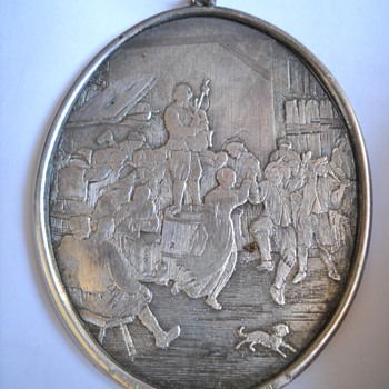 Teniers Kemesse Flamande Engraved Silver  Pendant - Fine Jewelry