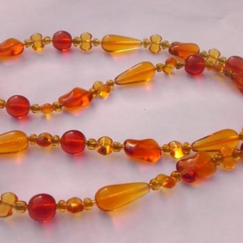 Autumn glass necklace - Costume Jewelry