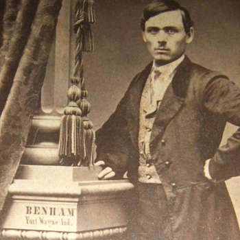 CDV with photographer's name painted on column - Photographs