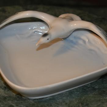 German Porcelain Seagull Dish - Pottery