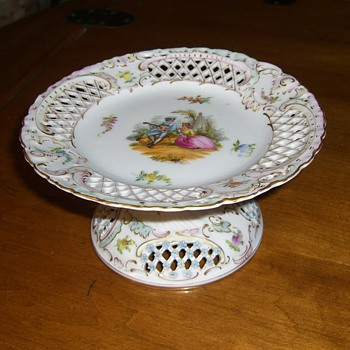 My Mother in Law's antique footed porcelain candy dish. - China and Dinnerware