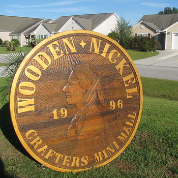 Handcrafted Wooden Nickel Road Sign