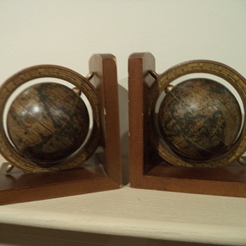 Vintage Wooden Globe Bookends