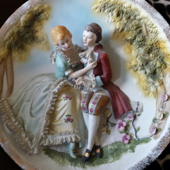 3-d victorian Very Detailed  hand painted made in Japan wall plate - Asian