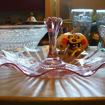 Pink Depression Glass Tidbit Tray - Glassware
