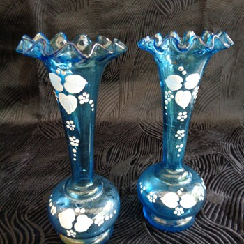 Pair Victorian glass vases with white enamel decoration - Art Glass