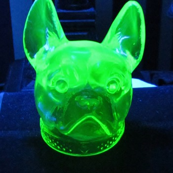 Vaseline Glass 'Bull Dog's Head' Candy Container from Boyd's Crystal Art Glass