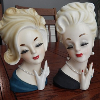 Ready for a night out on the town - lady head vases - Mid-Century Modern