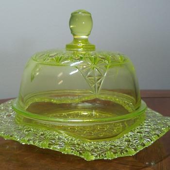 Vaseline Butter Dish - Glassware