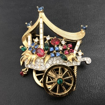Trifari Flower cart brooch - Costume Jewelry