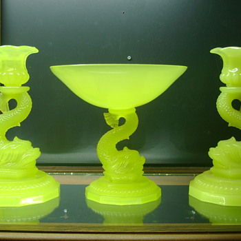 Opaline Yellow Vaseline Portieux Vallerystahal Compote and Candle Sticks - Art Glass