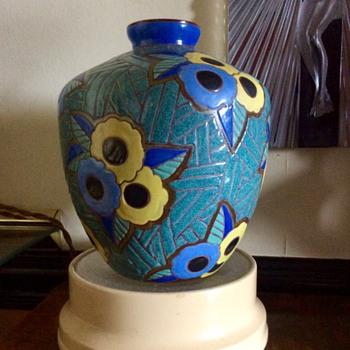 Signed Leune enamelled Art Deco glass Vase by Heiligenstein  - Art Deco