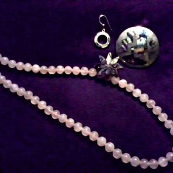 Pink Quartz (Jade?) Necklace and Mexican Alpaca Silver Pin, Single Ear Rings and Tray  - Fine Jewelry