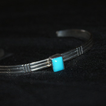 Small Sterling Cuff with Turquoise - Fine Jewelry