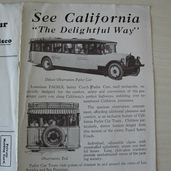 1920's Tour California in a Parlor Car Brochure - Classic Cars