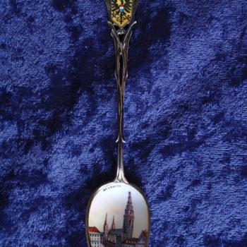 Keilkkonn Enamel Porcelain Coat of Arms Silver Spoon Germany Denmark Finland Norway ? - Silver