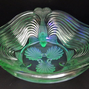 Josef Inwald Fish Footed Bowl - Uranium Glass - Art Glass